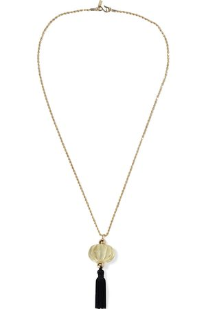 Kenneth Jay Lane Woman 22-karat -plated Bead Resin And Tasseled Cord Necklace Size