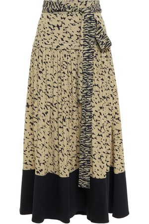 Proenza Schouler Woman Belted Twill-paneled Gathered Printed Crepe Midi Skirt Sage Size 0