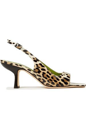 By Far Woman Lopez Leopard-print Patent-leather Slingback Sandals Animal Print Size 35
