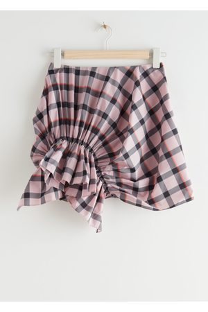 & OTHER STORIES Gathered Asymmetrical Check Mini Skirt