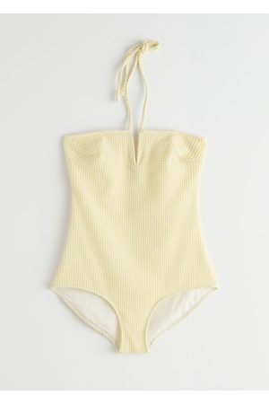 & OTHER STORIES Jacquard Check Halter Neck Swimsuit
