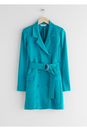 & OTHER STORIES D-Ring Belted Mini Blazer Dress - Turquoise