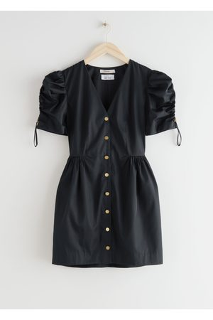 & OTHER STORIES Gold Button Puff Sleeve Mini Dress
