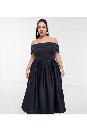 True Violet Folded bardot prom midi dress with pockets in navy