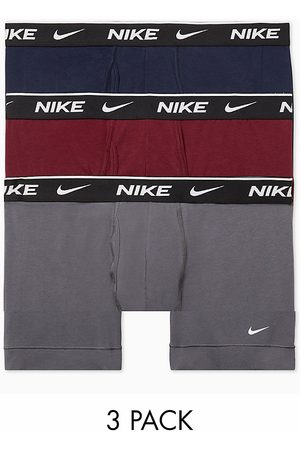 Nike Cotton Stretch 3-pack boxer briefs in navy/burgundy/gray-Multi