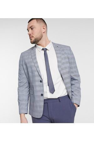 ASOS Plus super skinny suit jacket with prince of wales plaid in blue-Blues