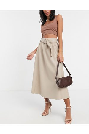 ASOS Leather look belted midi skirt in beige