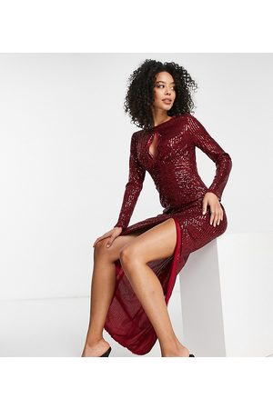 Jaded Rose Tall Keyhole long sleeve embellished midi dress in burgundy