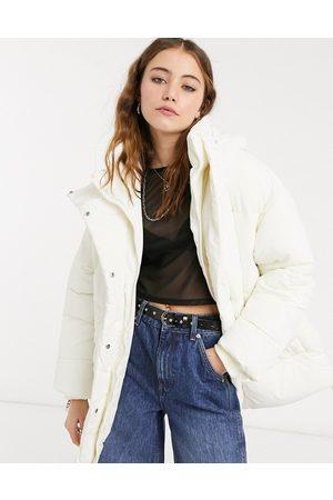 Monki Bora recycled padded short jacket in off-white-Multi