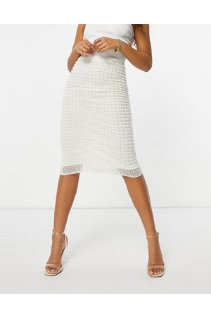 Starlet Embellished midi skirt in ivory