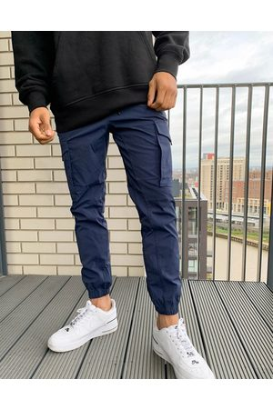Jack & Jones Intelligence nylon tech detail cuffed cargo pants in navy