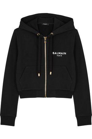Balmain Women Sweatshirts - Logo hooded cotton sweatshirt