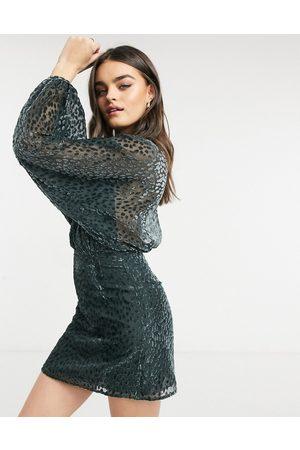 & OTHER STORIES & burnout velvet mini dress in dark gray