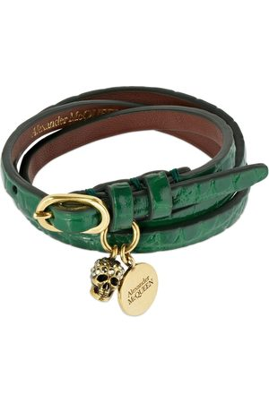 Alexander McQueen Triple Wrap Shiny Leather Bracelet
