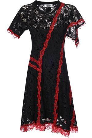 KOCHE' Sheer Lace Mini Dress