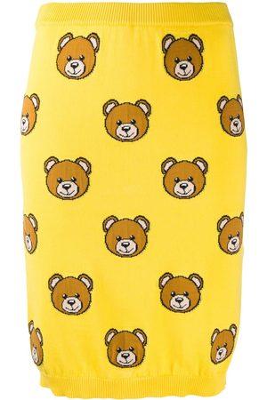 Moschino Teddy print knitted skirt