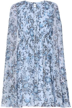 Erdem Austin Cape-sleeves Floral-print Voile Dress - Womens - Multi