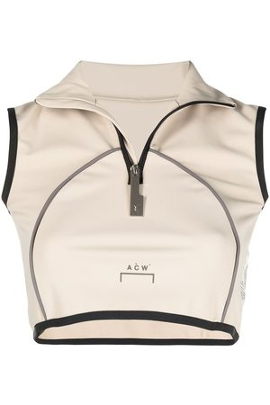 A-cold-wall* Zipped vest crop top - Neutrals