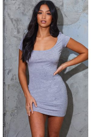 PRETTYLITTLETHING Women Party Dresses - Petite Grey Marl Cap Sleeve Mini Dress