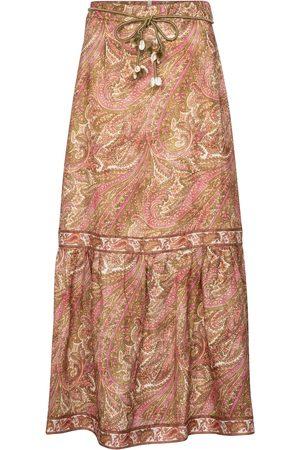 ZIMMERMANN Brighton paisley linen midi skirt
