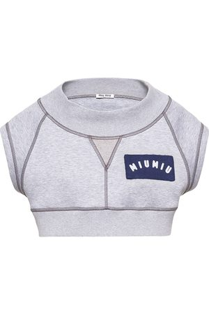 Miu Miu Cropped logo patch top - Grey