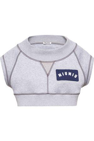 Miu Miu Cropped logo patch top - Grey