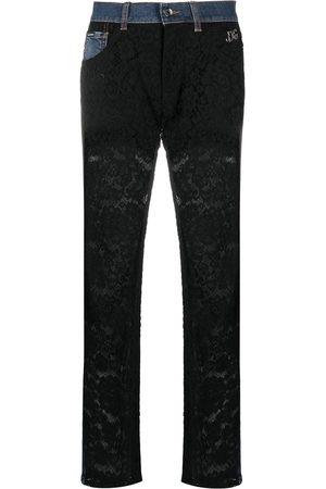 Dolce & Gabbana Lace-panel boyfriend jeans