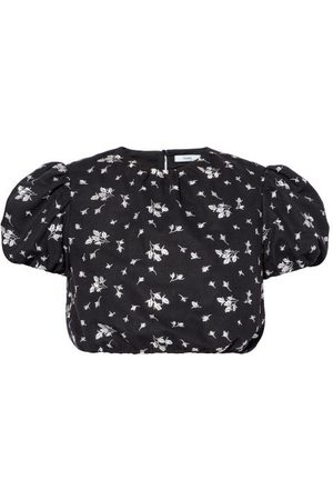 Erdem Romi Flowerbud-embroidered Poplin Crop Top - Womens