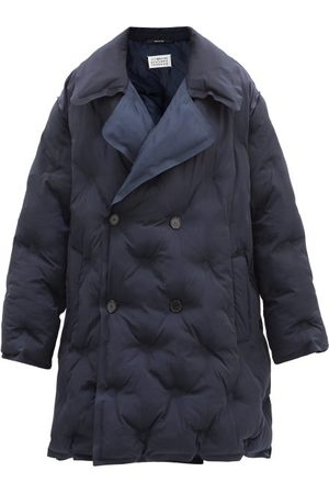 Maison Margiela Women Puffer Jackets - Double-breasted Quilted Shell Coat - Womens - Navy