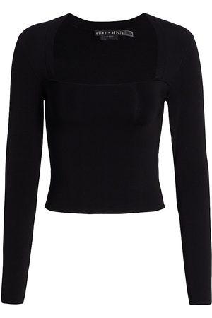 ALICE+OLIVIA Women's Ricarda Squareneck Stretch Knit Top - - Size Medium