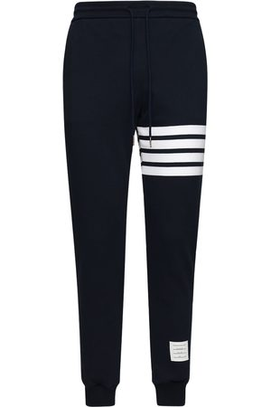 Thom Browne Men Sweatpants - Intarsia Stripes Cotton Sweatpants