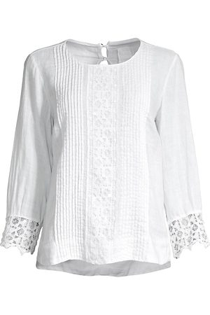 120% Lino 120% Lino Women's Embroidered Pintuck Lace Cuff Blouse - - Size 48 (XL)