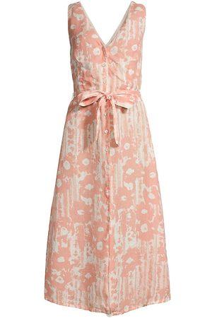 120% Lino 120% Lino Women's Desert Floral Print V Neck Button Front Dress - - Size 44 (M)