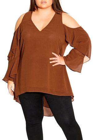 City Chic Plus Size Women's High/low Chiffon Cold Shoulder Tunic