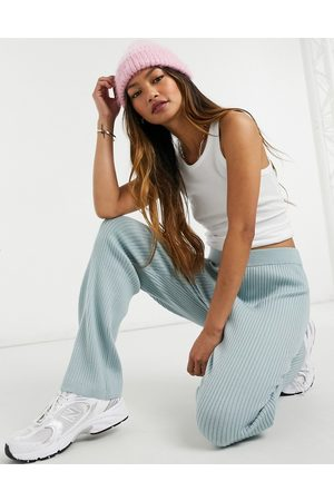 & OTHER STORIES Women Leggings - & wool set ribbed knit pants in blue-Grey
