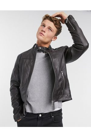 ASOS Leather Jackets - Leather racer jacket in