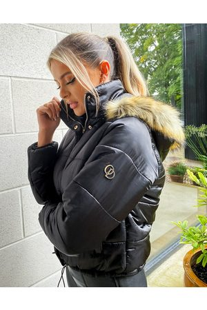 The O Dolls Collection ODolls Collection padded jacket with faux fur trim hood in black