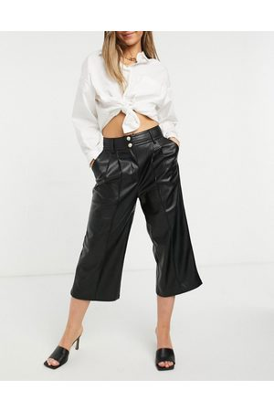 River Island Faux leather wide leg culotte in