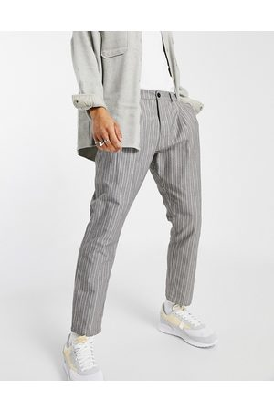 ASOS Cigarette fit pants in textured stripe-Grey