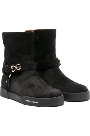 Dolce & Gabbana DG-lettering suede ankle boots