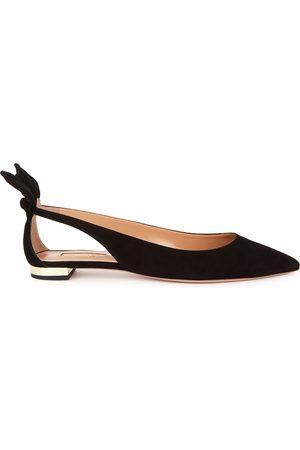 Aquazzura Women Flat Shoes - Bow Tie 10 cut-out suede flats