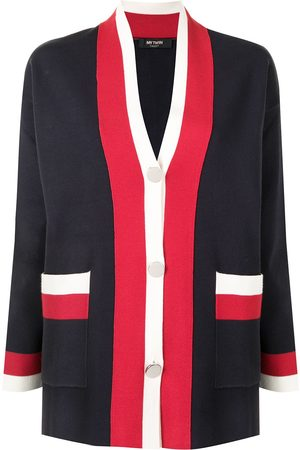 Twin-Set Stripe-detail V-neck cardigan