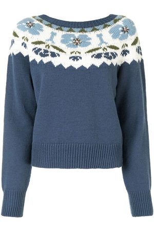 Twin-Set Floral intarsia knit round neck jumper