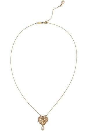 Dolce & Gabbana 18kt yellow Devotion Sacred Heart diamond and pearl pendant necklace