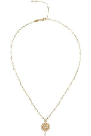 Dolce & Gabbana Women Necklaces - 18kt yellow pearl rosette pendant necklace