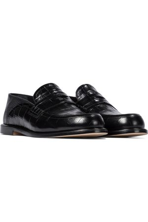 Loewe Slip-on croc-effect leather loafers