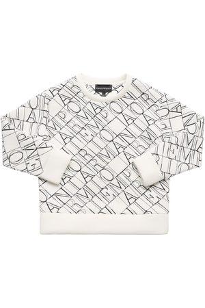 Emporio Armani All Over Logo Cotton Sweatshirt