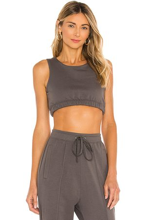 Parentezi French Terry Crop Tank in Charcoal.