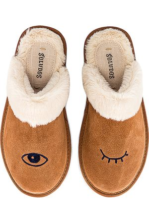 Soludos Women Espadrilles - Wink Faux Fur Slipper in Brown.