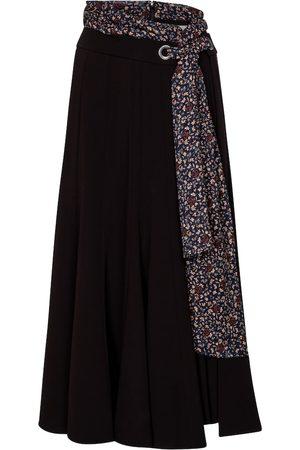 Chloé Floral-trimmed crêpe midi skirt